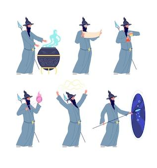 오래된 마법사. 신비한 마술사, 신비한 트릭을하는 만화 흑마법사. 중세 마술 현자, 마법사 남성 캐릭터 벡터 삽화. 마법의 신비, 마법의 판타지, 캐릭터 의상 모자