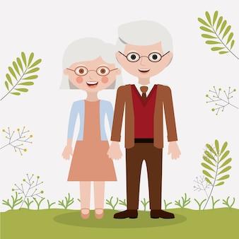 古い女性と男性の漫画のアイコン