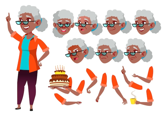 Old woman character. african. creation constructor for animation. face emotions, hands.