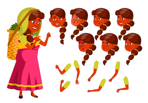 Old woman character. indian. creation constructor for animation. face emotions, hands.