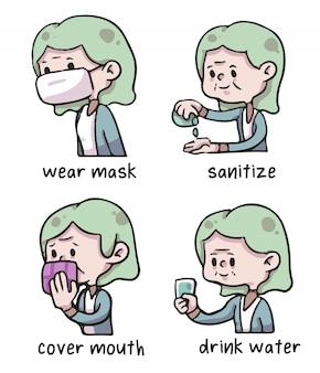 Old woman covid-19 proper hygiene illustration