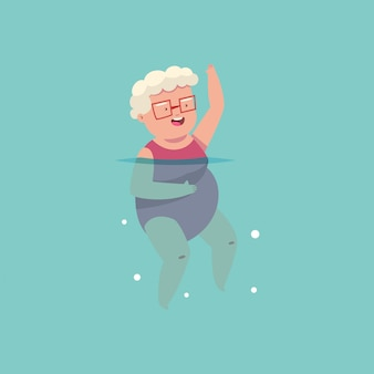 Old woman doing aqua aerobics exercise in swimming pool