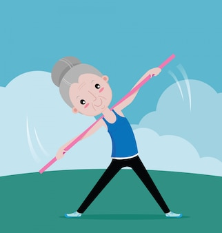 Old woman exercise with equipment
