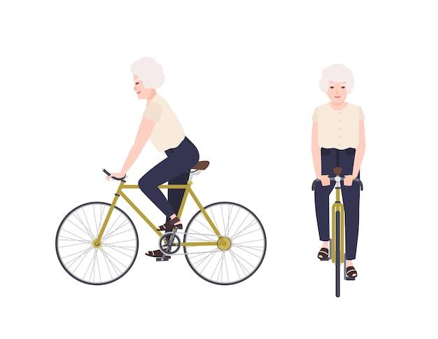 Старуха, бабушка или бабушка на велосипеде. женский мультипликационный персонаж на велосипеде. велосипедист пожилого возраста, изолированные на белом фоне. активный отдых. вид спереди и сбоку. векторная иллюстрация