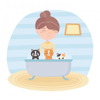 Old woman grooming bathing cats in the bathtub illustration