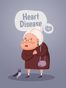 Old woman having heart attack, cartoon character. vector illustration