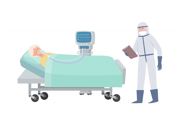 Old woman in hospital bed with oxygen mask and ventilator