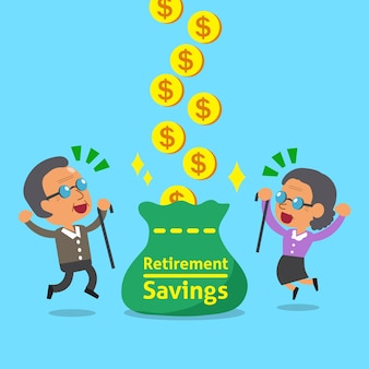 Old woman and an old man receiving retirement savings