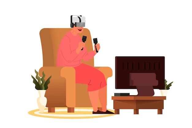 歳の女性がビデオゲームをプレイします。コンソールコントローラーとvrメガネデバイスでビデオゲームをプレイするシニア。高齢者のキャラクターは現代生活を送っています。