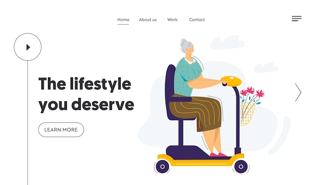 Old woman riding scooter landing page template.