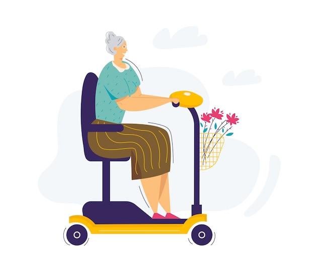 スクーターに乗る老婆。電動車椅子に乗るシニア女性キャラクター。スクーターを運転する祖母の年配の女性。