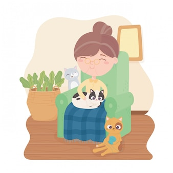 Old woman sitting on chair with cats in the room illustration