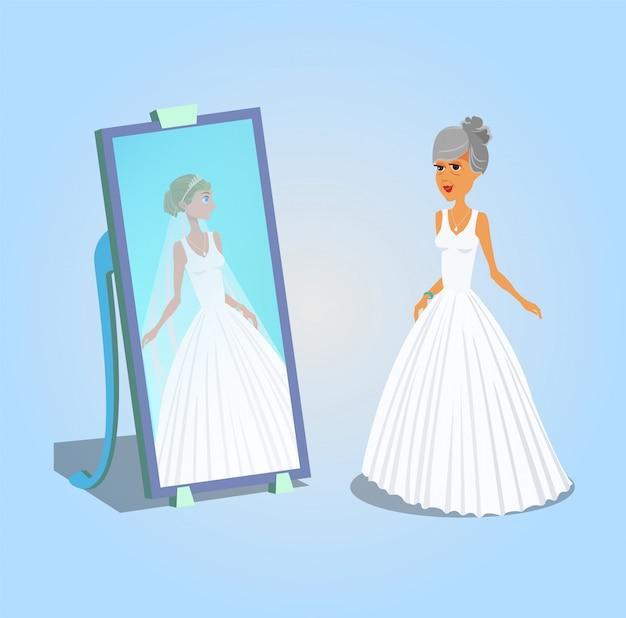 Old woman in wedding dress vector illustration.