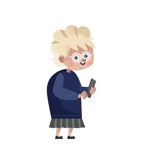 Old woman with mobile phone character.