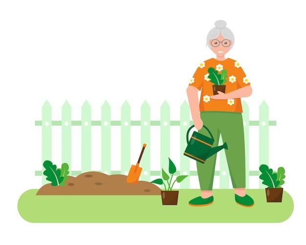 庭に植物と園芸工具を持つ老婆。ガーデニングのコンセプトデザイン。春または夏のバナーまたは背景