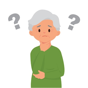Old woman with question marks because they are easy to forget