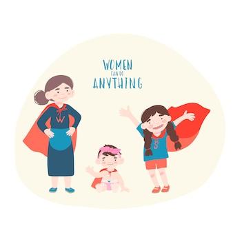 スーパーヒーローの衣装で2人の女の子と歳の女性