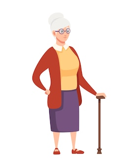 Old women standing with cane and glasses cartoon character design