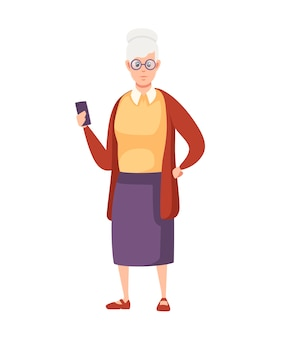 Old women standing with smartphone and glasses cartoon character design