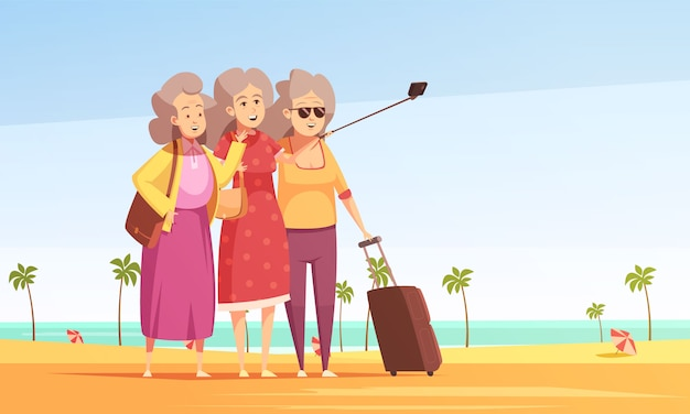 Old women taking photo selfie illustration