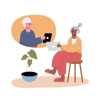 ビデオ通話のキャラクターのイラストでテクノロジーを使用している老婆
