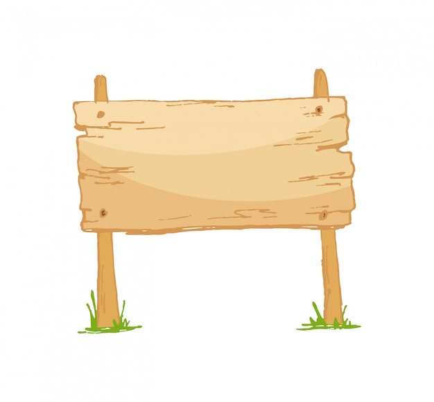 Old wooden blank cartoon sign board with grass isolated on white.
