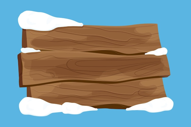 漫画風の雪と古い木製の空白の看板