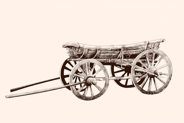 An old wooden cart on four wheels for a horse harness. pencil drawing by hand.