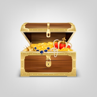 Old wooden chest with treasures realistic composition with image of treasure coffer filled with golden items
