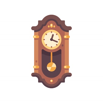 Old wooden grandfather clock flat icon. antique furniture illustration.