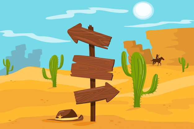 Old wooden road sign standing on desert landscape background  illustration, cartoon style