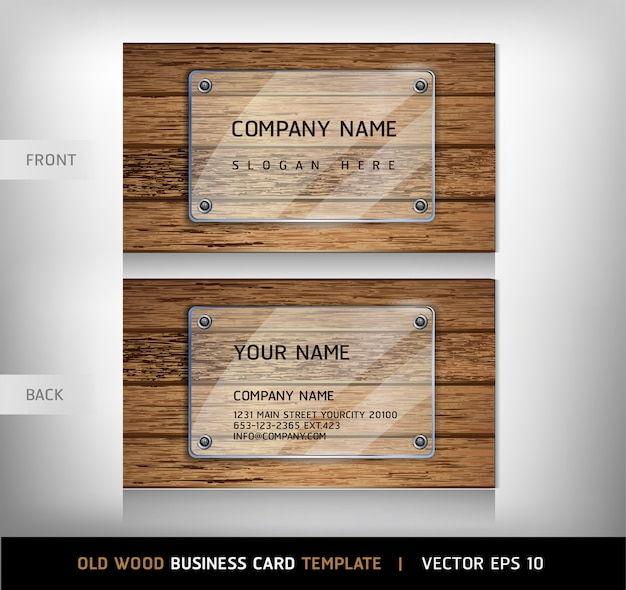 Old wooden texture business card template