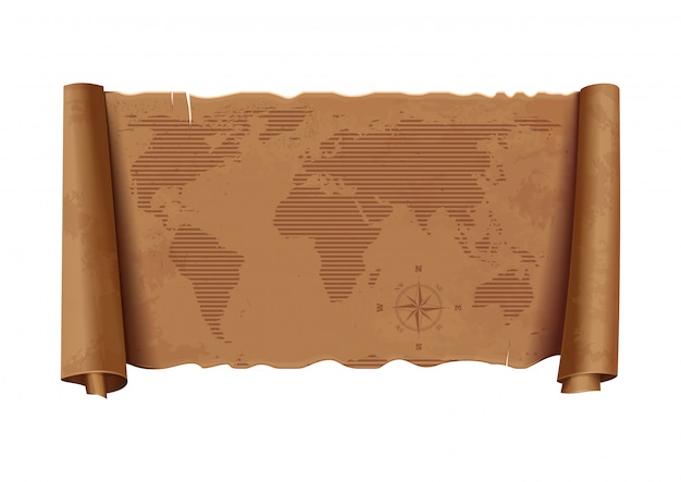 Карта старого мира. горизонтальная подробная древняя карта мира. роза ветров. винтажная бумажная структура.