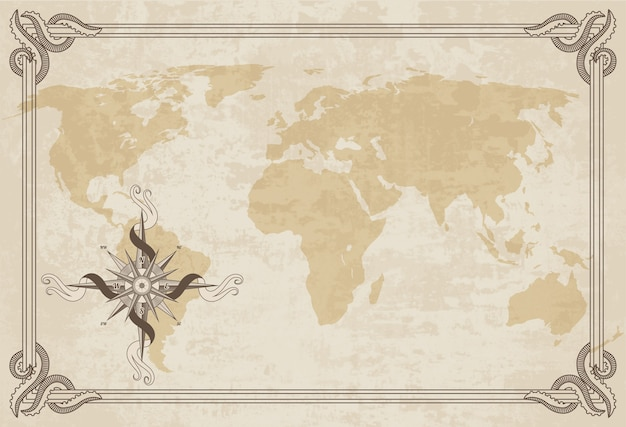 Old world map.  paper texture with border frame.