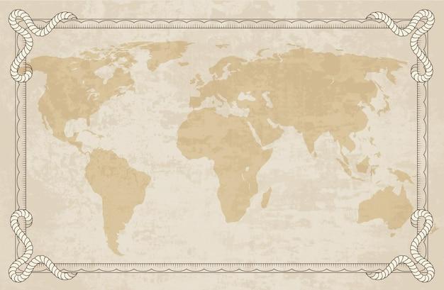 フレーム付きの旧世界地図。レトロなデザインのバナー。装飾的なアンティーク博物館の写真。海洋のテーマと紋章の要素。紙の質感。