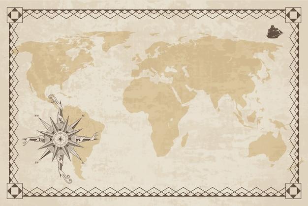 紙のテクスチャとボーダーフレームの旧世界地図。風配図。ヴィンテージの航海コンパス。
