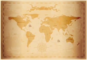 Old map vectors photos and psd files free download old world map with vintage paper texture gumiabroncs Images