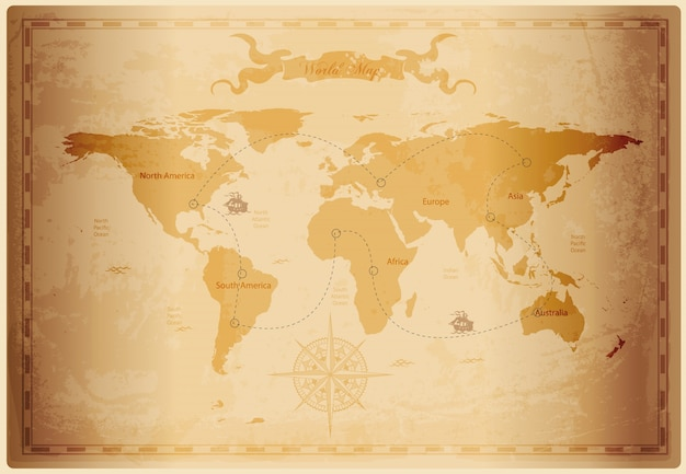 Old world map with vintage paper texture