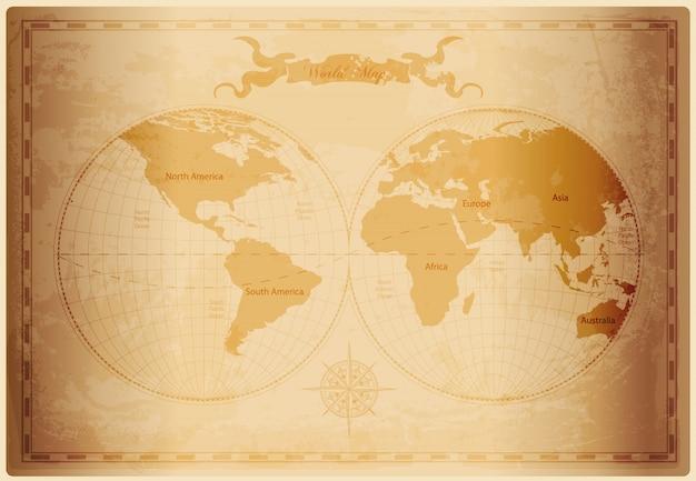 Карта старого света с марочной бумажной текстурой