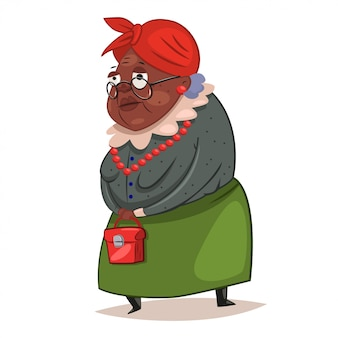 Older black woman with glasses and a red bag in her hands illustration