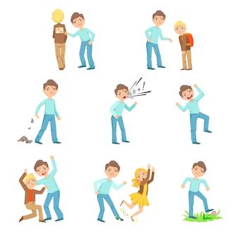 Older boy bullying young children and behaving badly set