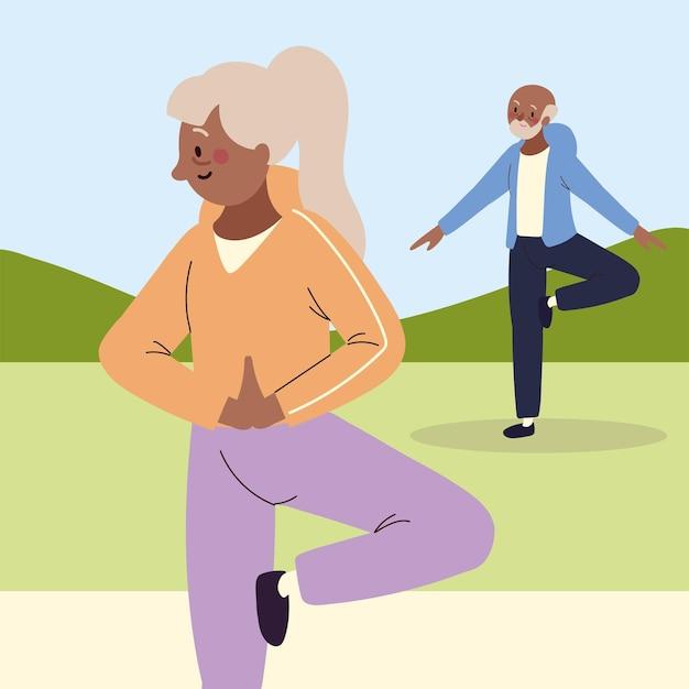 Пожилая пара делает упражнения