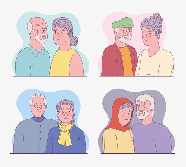 노인 남녀 세트