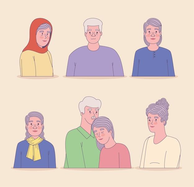 나이 든 남자와 여자