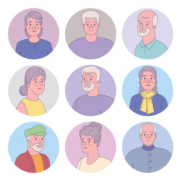 서클에 있는 노인들