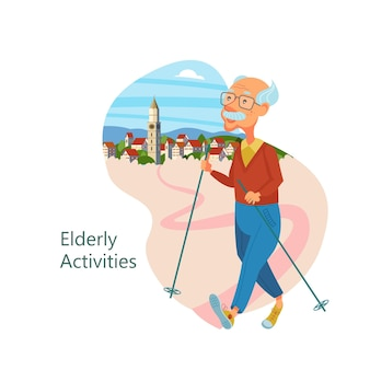 Older people leading an active lifestyle. old people play sports.