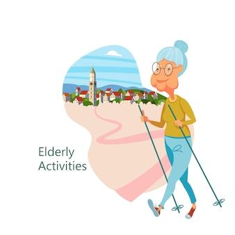 アクティブなライフスタイルをリードする高齢者。老人はスポーツをします。