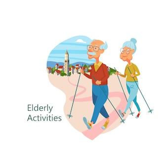 활동적인 라이프 스타일을 선도하는 노인들. 노인들은 스포츠를 합니다.