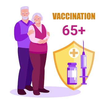 Older people with a shield protects against disease covid19 vaccination of the elderly