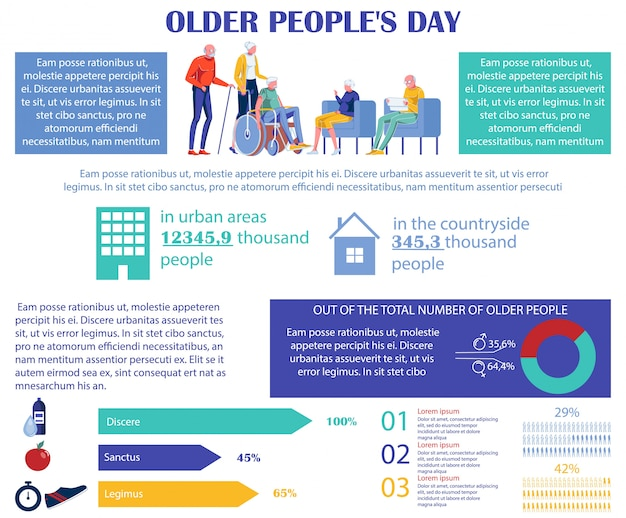 Older peoples day, chart infographics banner.